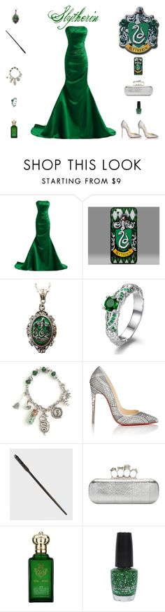 """""""Slytherin Prom Outfit"""" by billsacred ❤ liked on Polyvore featuring Alkemie, Christian Louboutin, Alexander McQueen, Clive Christian and OPI"""