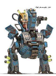 Mecha concept, Rock D on ArtStation Robot Concept Art, Robot Art, Robot Design, Game Design, Arte Peculiar, Robot Cartoon, Cool Robots, Futuristic Art, Game Character Design