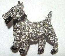 VINTAGE RHINESTONE SCOTTIE DOG BROOCH PIN FIGURAL 1930's Pot Metal ENAMEL