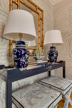 Navy console table with X-benches in Clarence House Tibet fabric by Simplified Bee