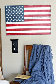 American Flag rustic Patriotic red white and by linenandlaceshop on Etsy