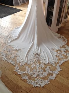 Beautiful cut out lace train on Enzoani Blue Mimi gown. Available to try at Elizabeth Kate Bridal Crowle Scunthorpe Enzoani Blue, Flower Girl Dresses, Prom Dresses, Prom Dress Shopping, Designer Wedding Dresses, Lace Dress, Bridesmaid, Wedding Ideas, Train