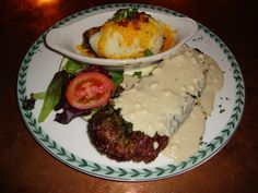 18OZ NEW YORK STRIP W/ BLEU CHEESE SAUCE: Hand-Trimmed & Grilled To Order.