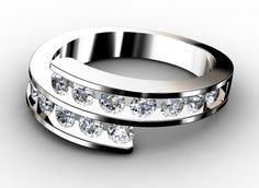 Diamant Ehering Twist, 750er Weißgold 18 Karat