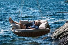German furniture company DEDON has created the 'SWINGREST', an oversized hanging lounger that lets you relax amidst nature; Indoor Outdoor, Outdoor Spaces, Outdoor Living, Outdoor Decor, Wicker Furniture, Outdoor Furniture, Furniture Design, Rock Bed, Womens Health Magazine