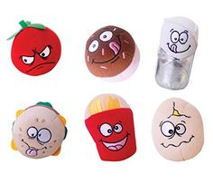 Just For Laughs Food Fight! Slam Jammers 6-Pack (Tommy Tomato, Patty, Benito Burrito, Eggbert, Sprinkles, Frenchy)