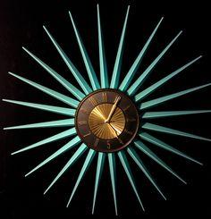 Vintage 50s 60s Mid Century Modern Aqua Turquoise Retro Sunburst Starburst Clock