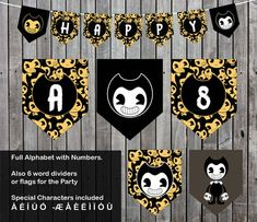 Bendy And The Ink Machine Banner- FULL Alphabet - Numbers and Special Characters Alonso, Bendy And The Ink Machine, Special Characters, Birthday Bash, Denver, Alphabet, Create Your Own, Pdf, Party Ideas