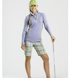 Puma Womens Golf Tech Shorts Violet/Sulpher Plaid | #Golf4Her #puma #golf