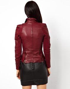 Image 3 of MuuBaa Lycra Biker Jacket in Lambs Leather with Zip Pockets