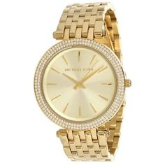 Michael Kors MK3191 Women's Darci Gold-Tone Stainless Steel Bracelet... ($194) ❤ liked on Polyvore featuring jewelry, watches, gold, watch bracelet, stainless steel wrist watch, quartz movement watches, analog watches and stainless steel watches