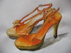 Orange Water Colour Shoes by miss-jackie