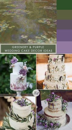 greenery and purple wedding cake ideas for rustic wedding ideas
