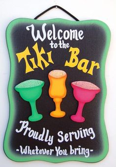 Tiki Bar sign for luau party Tiki Bar Signs, Pool Signs, Beach Signs, Patio Signs, Fun Signs, Hawaiian Theme, Hawaiian Luau, Hawaiian Parties, Tiki Party