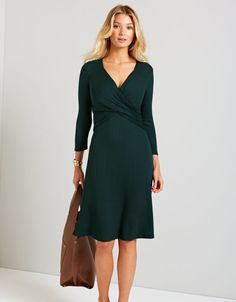 Florence Rib Dress in Bottle Green by Bravissimo Clothing
