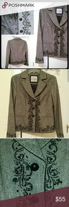 """Blazer Size M (8-10) Lined beautiful Blazer with  embroidery as seen on photos. Material -- Wool, Polyester and Viscose  2""""long and 19 """" wide measuered flat armpit to armpit.  Shoulder to arm 24 """".  Excellent condition. Jackets & Coats Blazers"""