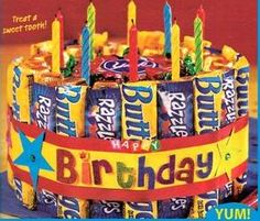 Candy birthday cake.....can't wait to do this