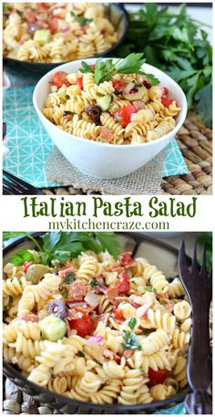 Italian Pasta Salad ~ www. ~ This pasta salad can be served as a side dish or add some chicken and you have a meal! Easy Salad Recipes, Side Dish Recipes, Easy Dinner Recipes, Pasta Recipes, Healthy Recipes, Dinner Ideas, Pot Pasta, Pasta Dishes, Food Dishes