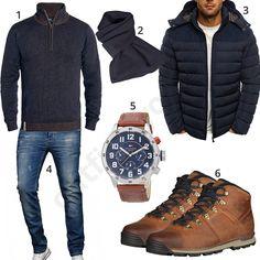 Herren-Outfit mit dunkelblauem Indicode Strickpullover, Schal, Ozonee Steppjacke, A. Salvarini Jeans, Tommy Hilfiger Armbanduhr und Timberland Stiefeln.