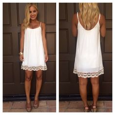 Scoop Cami Dress IVORY from Dainty Hooligan Boutique