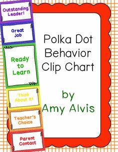 Behavior Clip Chart - Behavior Management - POLKA DOTS 4, $