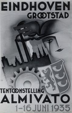Handel en nijverheid/tentoonstellingen affiche met suggestieve reclame voor de middenstandstentoonstelling ALMIVATO te Eindhoven, van 1 - 16 juni, grootstad; met Hermeskop, sky-line van de stad met Philipstoren, stadhuis, Catharinakerk en rokende schoorstenen, rad en wapen-Eindhoven Gestel & Zoon (uitgever) 1935