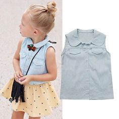 Fashion Toddler Kids Baby Girls Summer Sleeveless T-shirt Tops Cotton Tank Vest Clothes 1-7Years