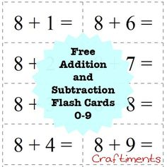 Craftiments:  Free Printable Addition and Subtraction Flash Cards, 0 - 9