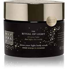Rituals The Ritual of Light Body Scrub - Cleansers - $29 Luxurious combination of organic sugar and delightfully soothing oils. Specially developed for nourishing and vitalising the skin, including dry skins. The refreshing properties of Sweet Orange in combination with the refined aroma of Cinnamon produce a delightfully warm winter fragrance.