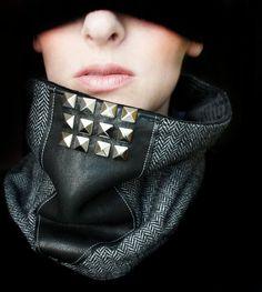 Tweed Cowl - Studded Leather Neckwarmer Scarf.