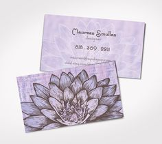LLavendar LOTUS FLOWER -PRINTED Business Cards - Yoga - Masseuse - Personal Card - Bride