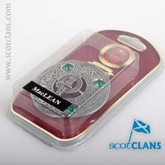 MacLean Clan Crest Plaid Brooch. Free worldwide shipping available.