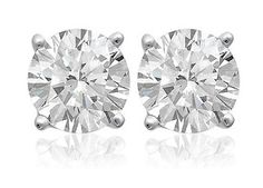 $699.99 - 1 Carat Diamond 14K White Gold Certified Stud Earrings