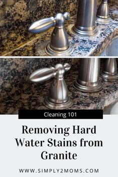 Want to remove those stubborn hard water stains from your granite counter tops? Our simple tutorial gets the job done without using any harsh chemicals. #simply2moms #granite #hardwaterstains #cleaningtips #hardwater #mineraldeposits #granite Deep Cleaning Tips, House Cleaning Tips, Spring Cleaning, Cleaning Hacks, All You Need Is, Homemade Toilet Cleaner, Clean Baking Pans, Cleaning Painted Walls, Hard Water Stains