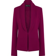 Brandon Maxwell Layered crepe blazer ($758) ❤ liked on Polyvore featuring outerwear, jackets, blazers, blazer, plum, crepe blazer, shawl lapel blazer, slim fit jackets, layered jacket and slim fit blazer