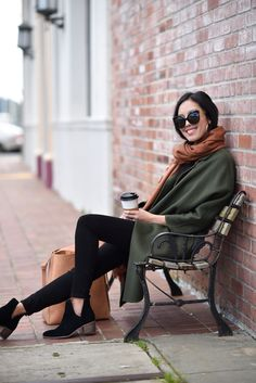 green coat camel scarf chic look