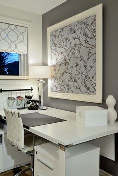 Framed Fabric | 20 Beautiful Home Offices | Bright Bold and Beautiful