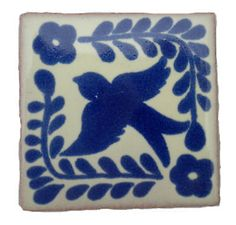 Fairly Traded Hand-Made Ceramic Mexican Talavera Tile - Bird Design Handmade Tiles, Handmade Ceramic, Mexican Ceramics, Encaustic Tile, Bird Design, Blue And White, Diy, Decor, Dragon