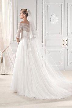 Bodenlang A-Linie Halbe Ärmel Tüllkleid Perlenstickerei Brautkleid - Bild 2