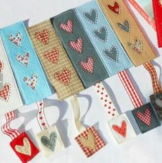 Celebration Candles (QAYG) Mug Rug Country Heart Bookmark Kids Crafts, Valentine Crafts For Kids, Felt Crafts, Fabric Crafts, Diy Valentine, Heart Bookmark, Bookmark Craft, Diy Bookmarks, Bookmark Ideas
