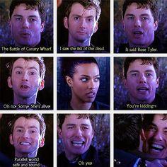 Doctor Who David Tennant Tenth Captain Jack Harkness Rose Tyler she's alive Rose Tyler, David Tennant, Serie Doctor, Supernatural, Jack Harkness, 10th Doctor, Fandoms, Don't Blink, Torchwood