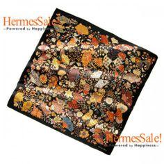 Hermes Fleurs et Papillons de Tissus 140cm Black Cashmere Shawl