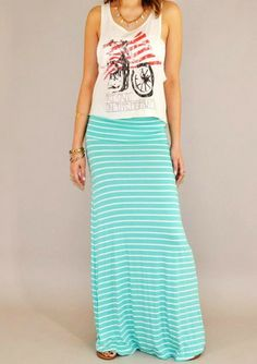 Super soft mint maxi skirt, you'll wanna live in this all summer! From Urban Philosophy! #fashion #womansfashion #shopping