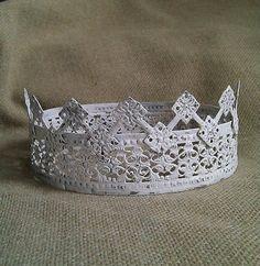 Crown Handmade w/Vintage Salvaged Metal Scroll by villabarnes