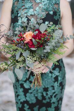 "Emerald & Burgundy ""In the Woodlands"" Winter Wedding Inspiration| Photographer: B. Photography"