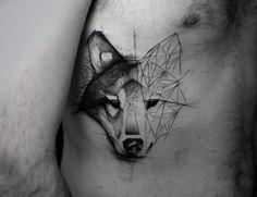 Wolf tattoo by Kamil Mokot