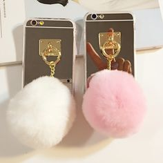 info@lemoltd.com 3D Fluff POM POM Phone Back Cover Case with Mirror for iPhone Case Camera Shots, Iphone Cases, Iphone 6, 6s Plus, Bank Deposit, Make It Yourself, Mirror, How To Make, Handmade