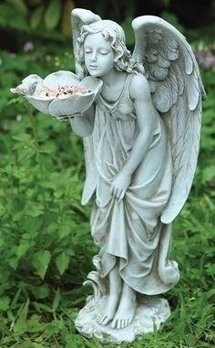 Girl Angel Bird Feeder Outdoor Garden Statue Joseph's Studio NEW Angels Garden, Angel Garden Statues, Outdoor Garden Statues, Statue Tattoo, Flower Bird, Mystique, Angel Art, Bird Feeders, Sculpture Art