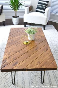 DIY Furniture and Makeover: My DIY hairpin coffee table . - DIY Furniture and Makeover: My DIY hairpin coffee table - Coffee Table Design, Diy Coffee Table Plans, Hairpin Leg Coffee Table, Wood Coffee Tables, Ideas For Coffee Tables, Coffee Table Inspiration, Design Minimalista, Diy Holz, Table Furniture