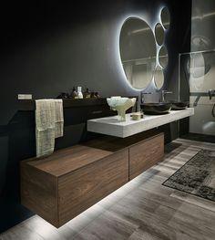 Italian bathroom furnishing Edoné, new material: HPL - Modern Bathroom Modern Bathroom Design, Bathroom Interior Design, Modern Interior, Kitchen Interior, Modern Design, Italian Bathroom, Modern Contemporary Bathrooms, Dream Bathrooms, Small Bathrooms